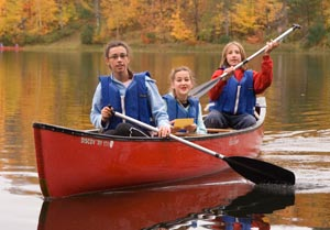 Canoers in the Outdoor Education Program at Forest Springs